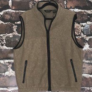 Eddie Bauer Fleece Vest Medium Tan Grey Zip Pocket